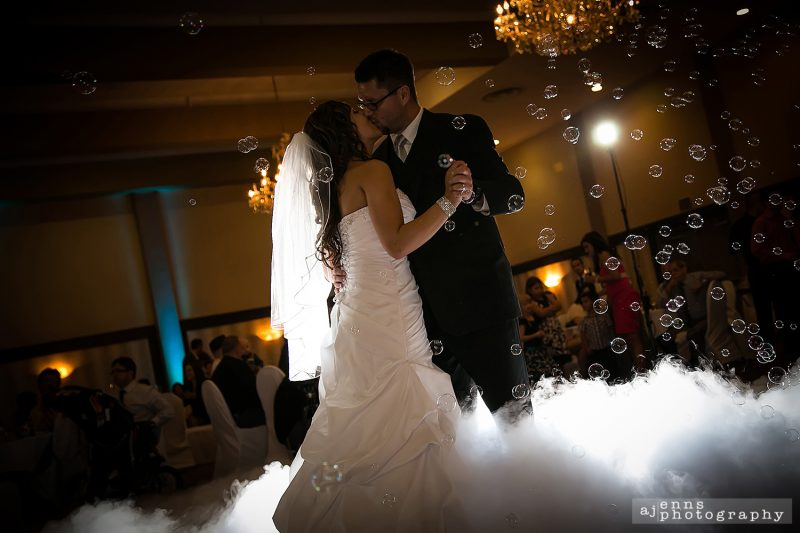 First dance had bubbles and smoke at the Marlborough Hotel