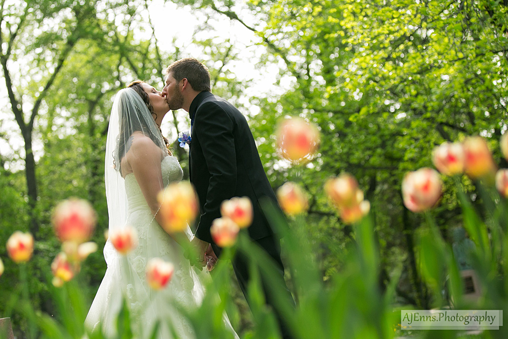 Bride and Groom kissing amongst the tulips
