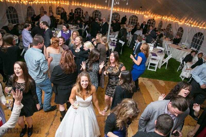 Aerial view of the bride on the dance floor