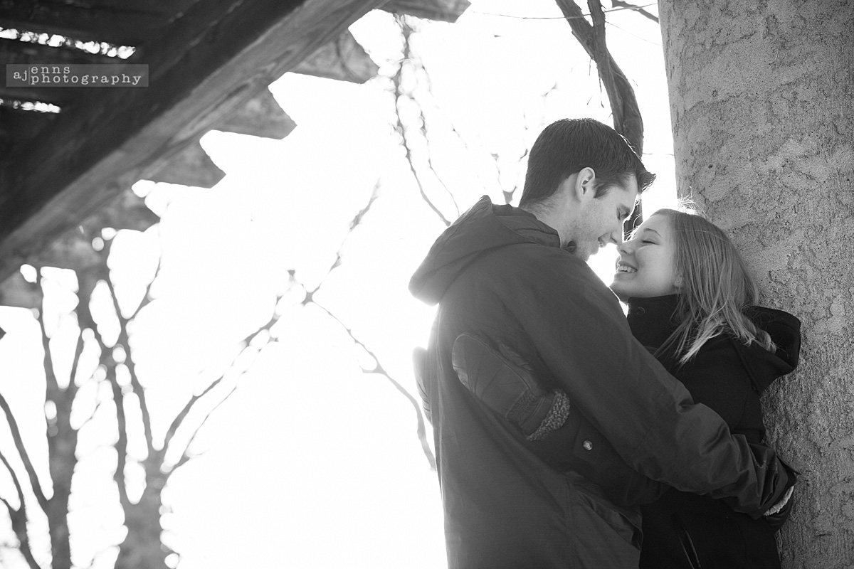 Engagement snuggles in the cold at the Pavilion at Assiniboine Park