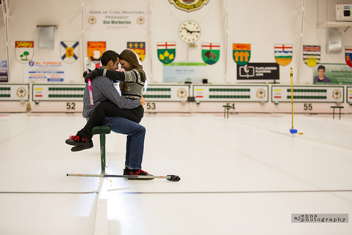 Snuggling on the curling bench at Fort Rouge Curling club