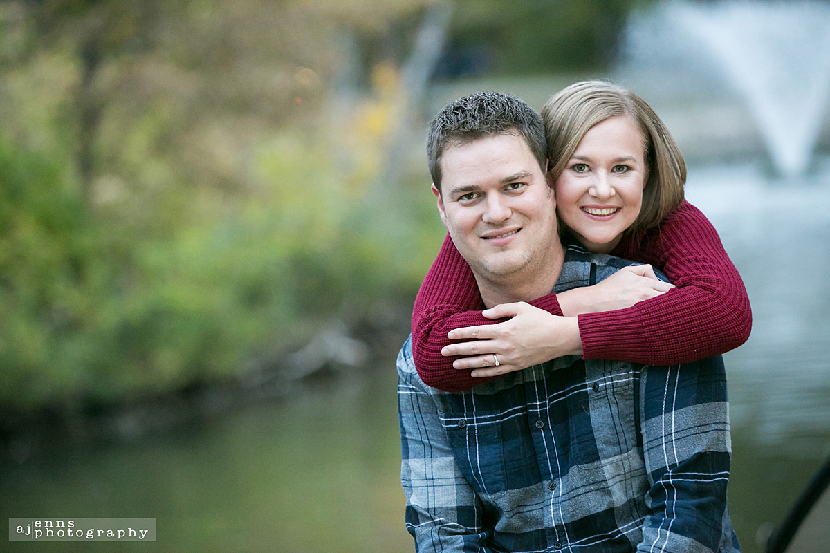 Engagement photo by the duck pond in St.Vital Park