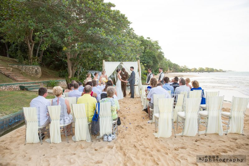 The wedding venue on the beach in Jamaica