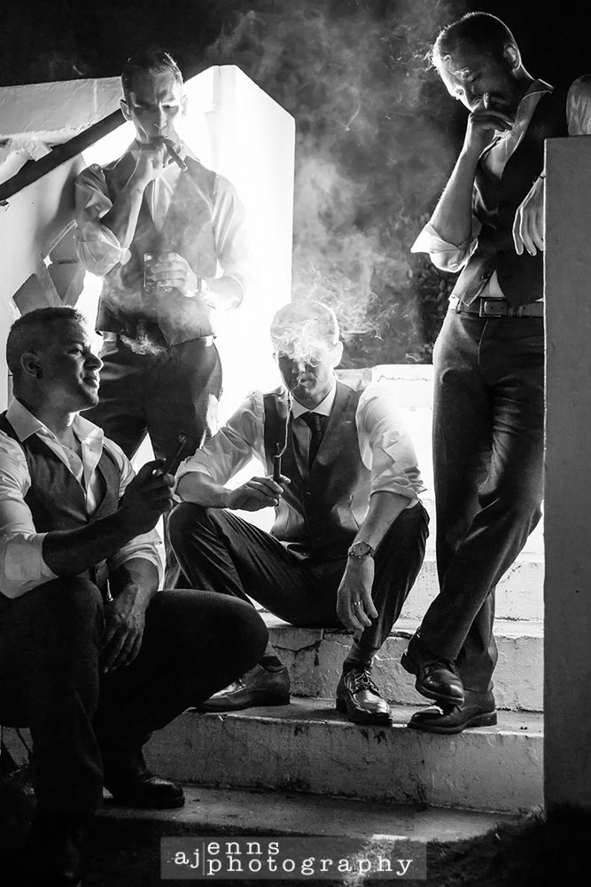 The boys enjoying a cigar at the end of the night