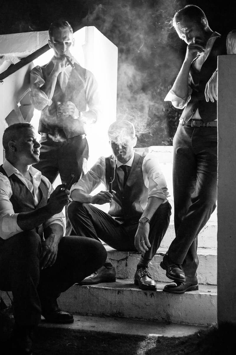 The groom and his boys with cigars