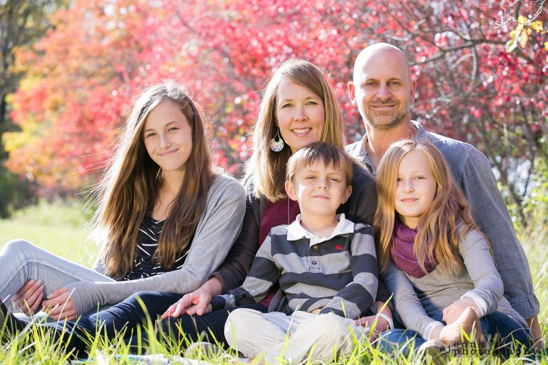 Family photos in the tall Fall grass