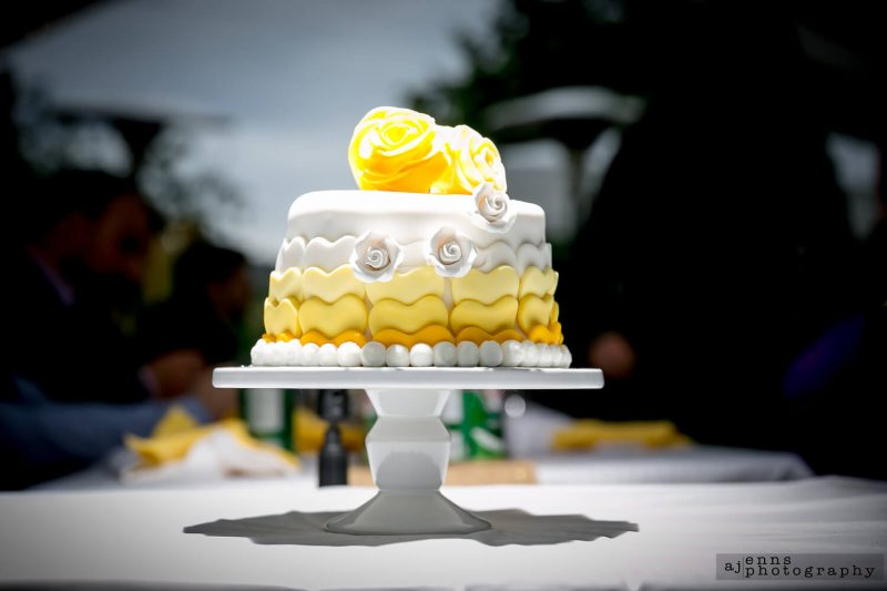 The beautiful single tier triple yellow coloured wedding cake