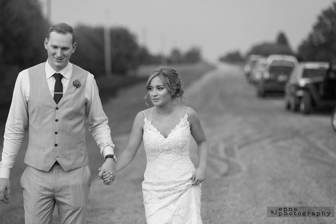 Walking down the dirt road to get away from the reception for a bit