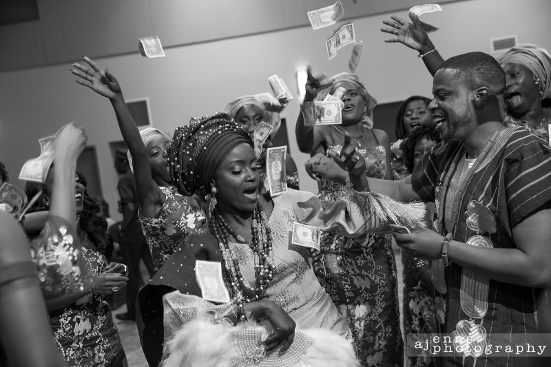 The Kenyan culture showers the couple with money as a wedding gift