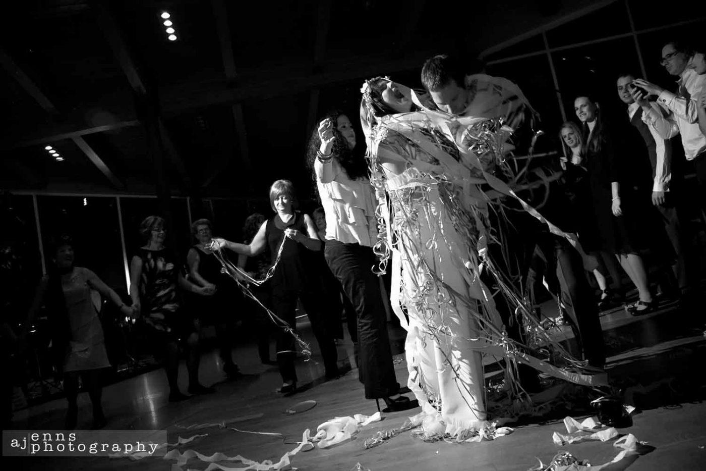 Dancing in confetti in the Qualico Centre