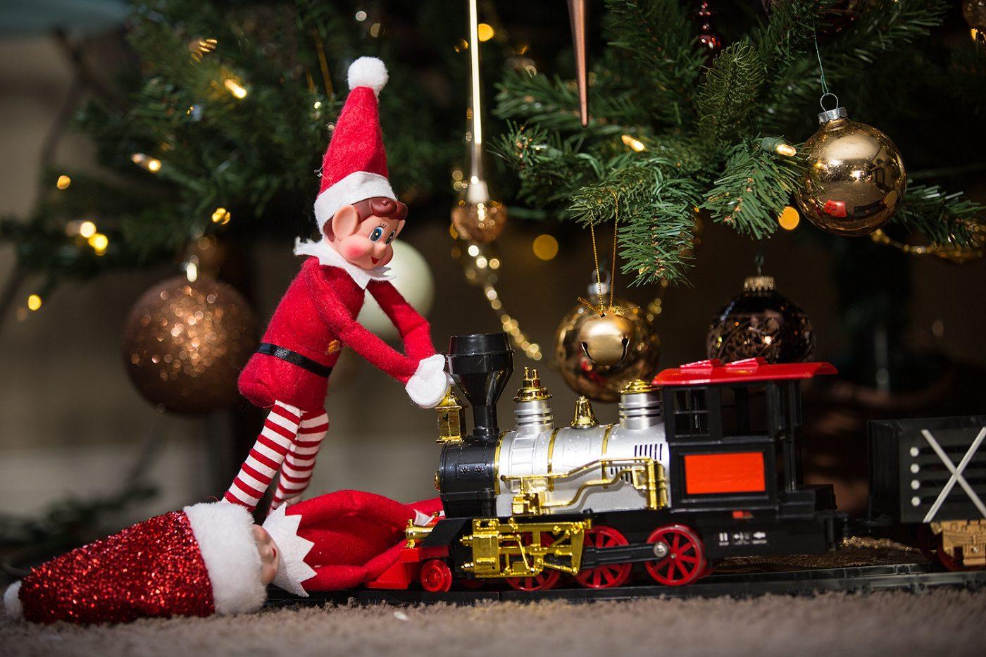 Elf on the shelf pushing train