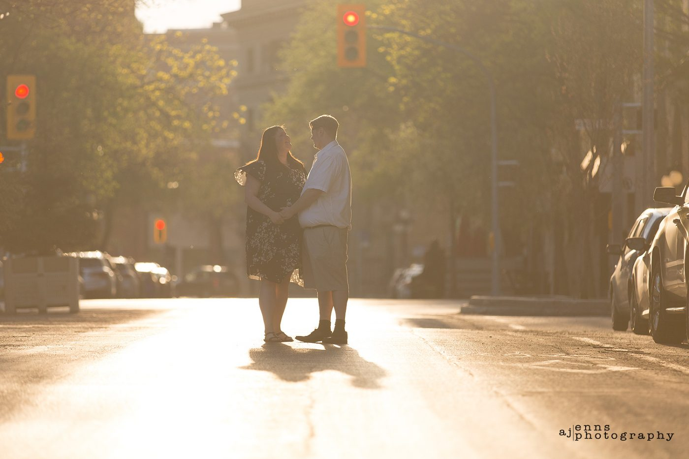 Holding hands in the middle of the street in the exchange district