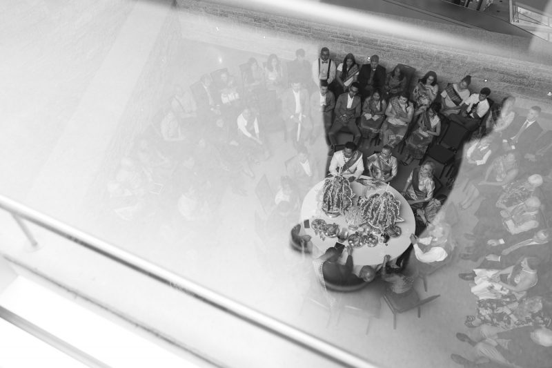 A view of the ceremony from a high angle looking down at the table