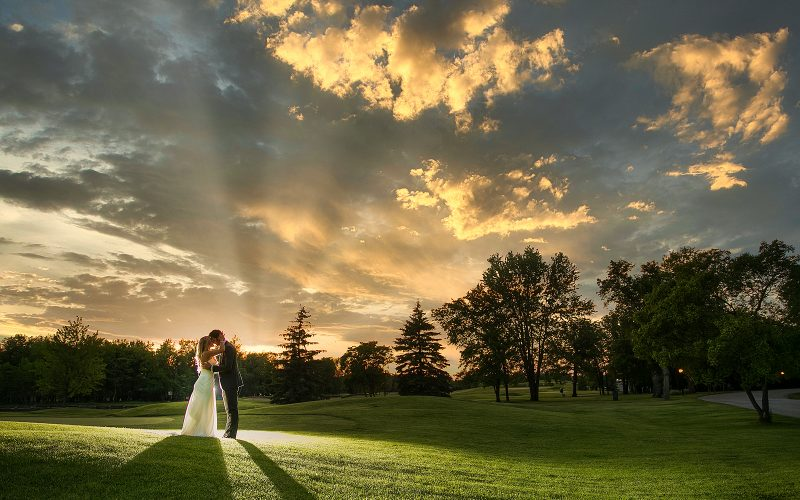 Katie and Mark at Sunset at the golf course